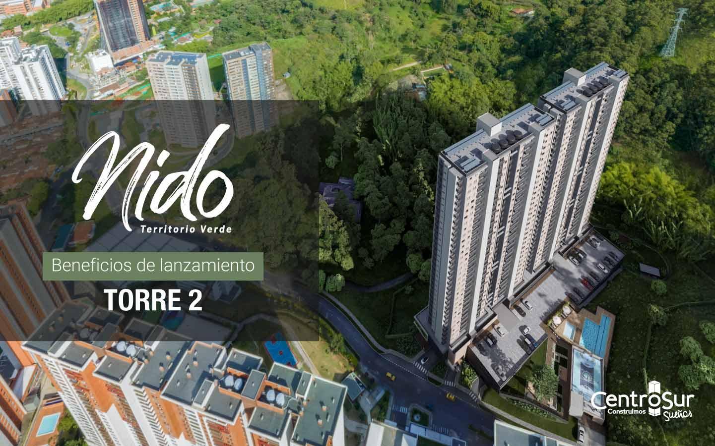 Nido torre 2: proyecto sostenible de apartamentos nuevos en Sabaneta